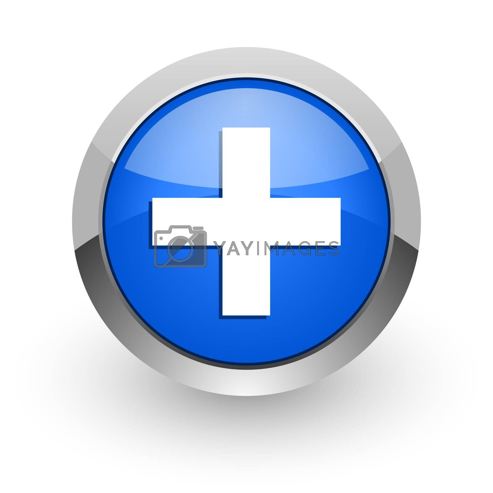 Royalty free image of plus blue glossy web icon by alexwhite