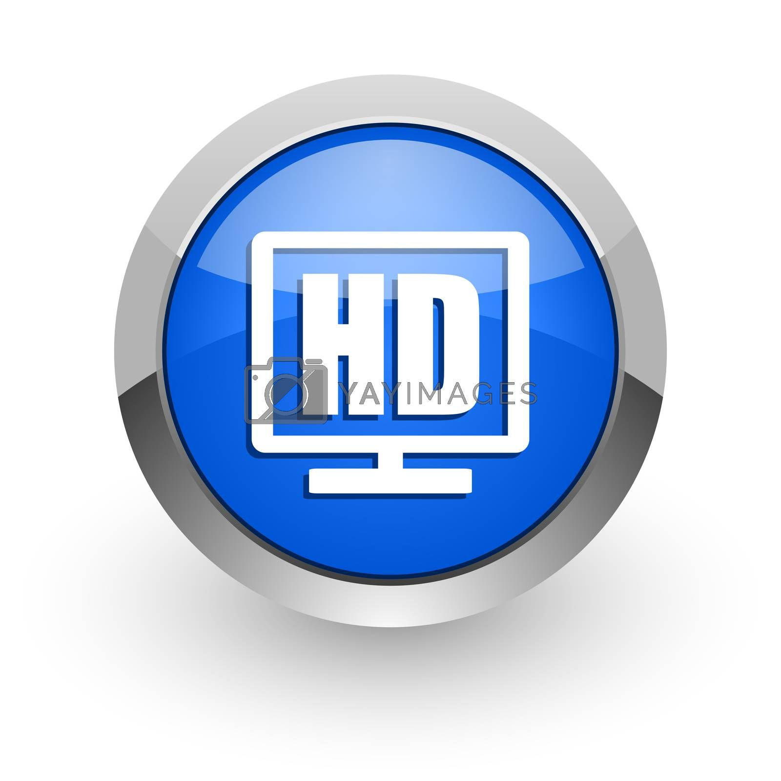 Royalty free image of hd display blue glossy web icon by alexwhite