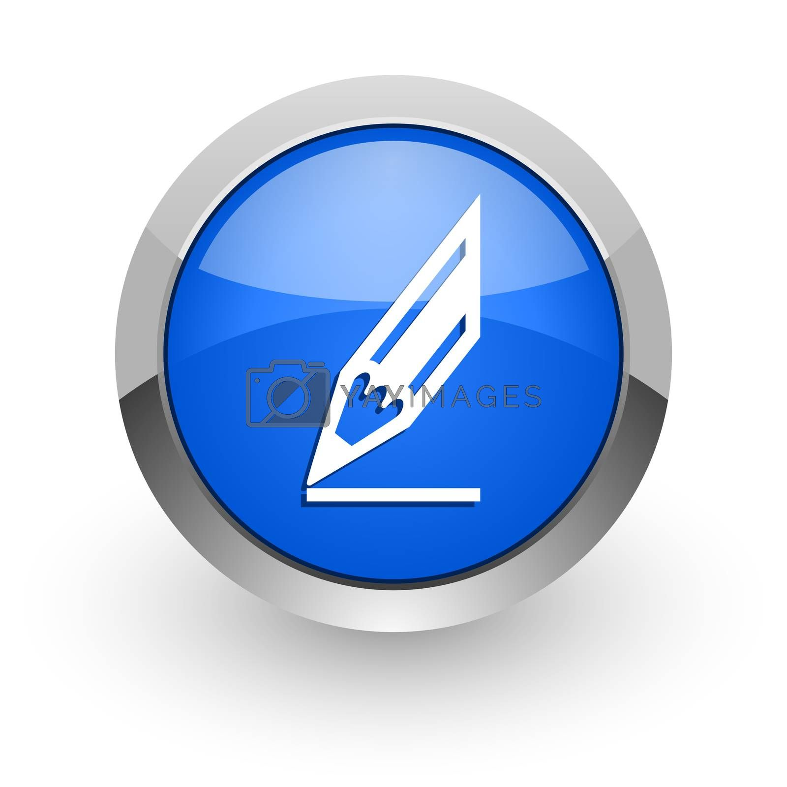 Royalty free image of pencil blue glossy web icon by alexwhite