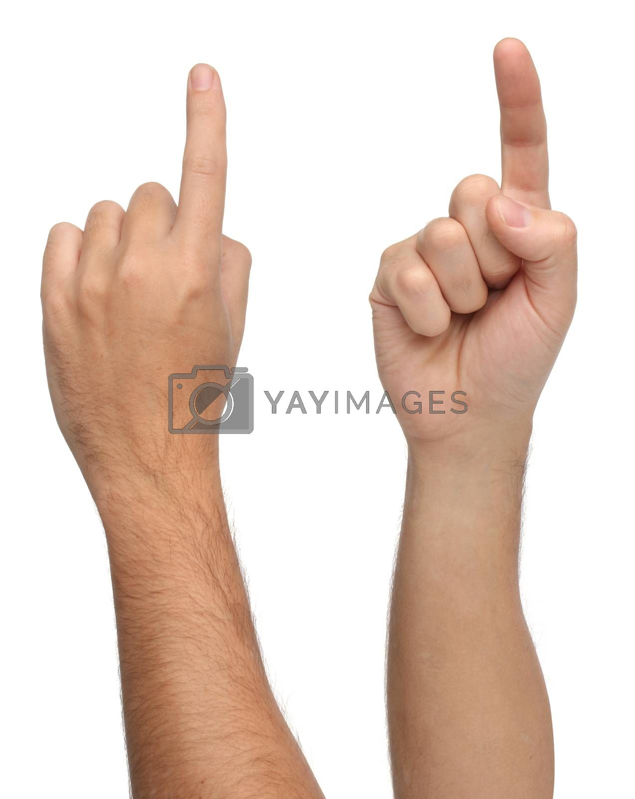 Royalty free image of Hand signs. Pointing or touching something   by Erdosain