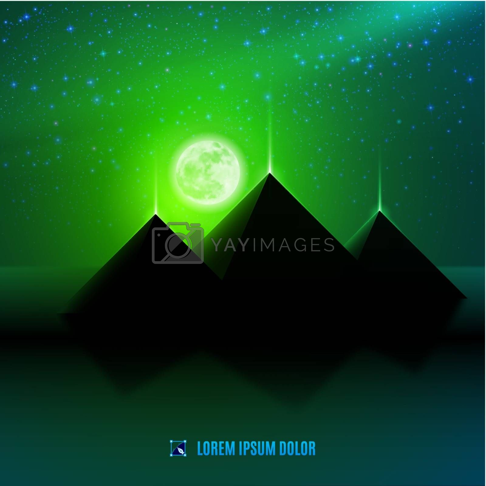 Royalty free image of Green night desert landscape by dvarg