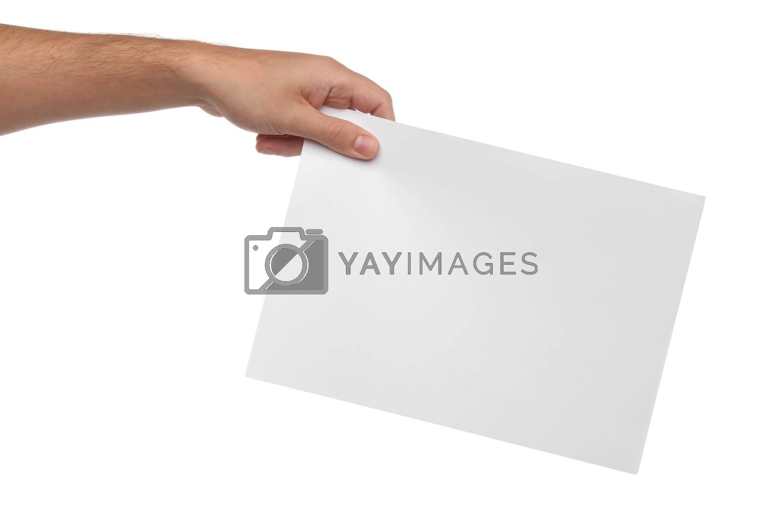 Royalty free image of Male hands holding blank paper isolated on white  by Erdosain