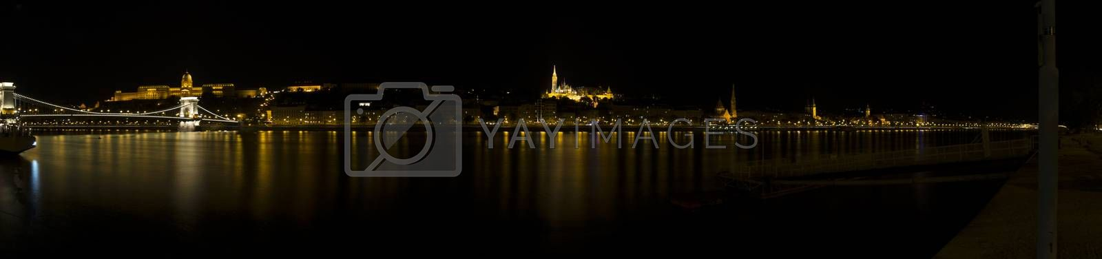 A  night view of the Danube river in Budapest in Hungary: