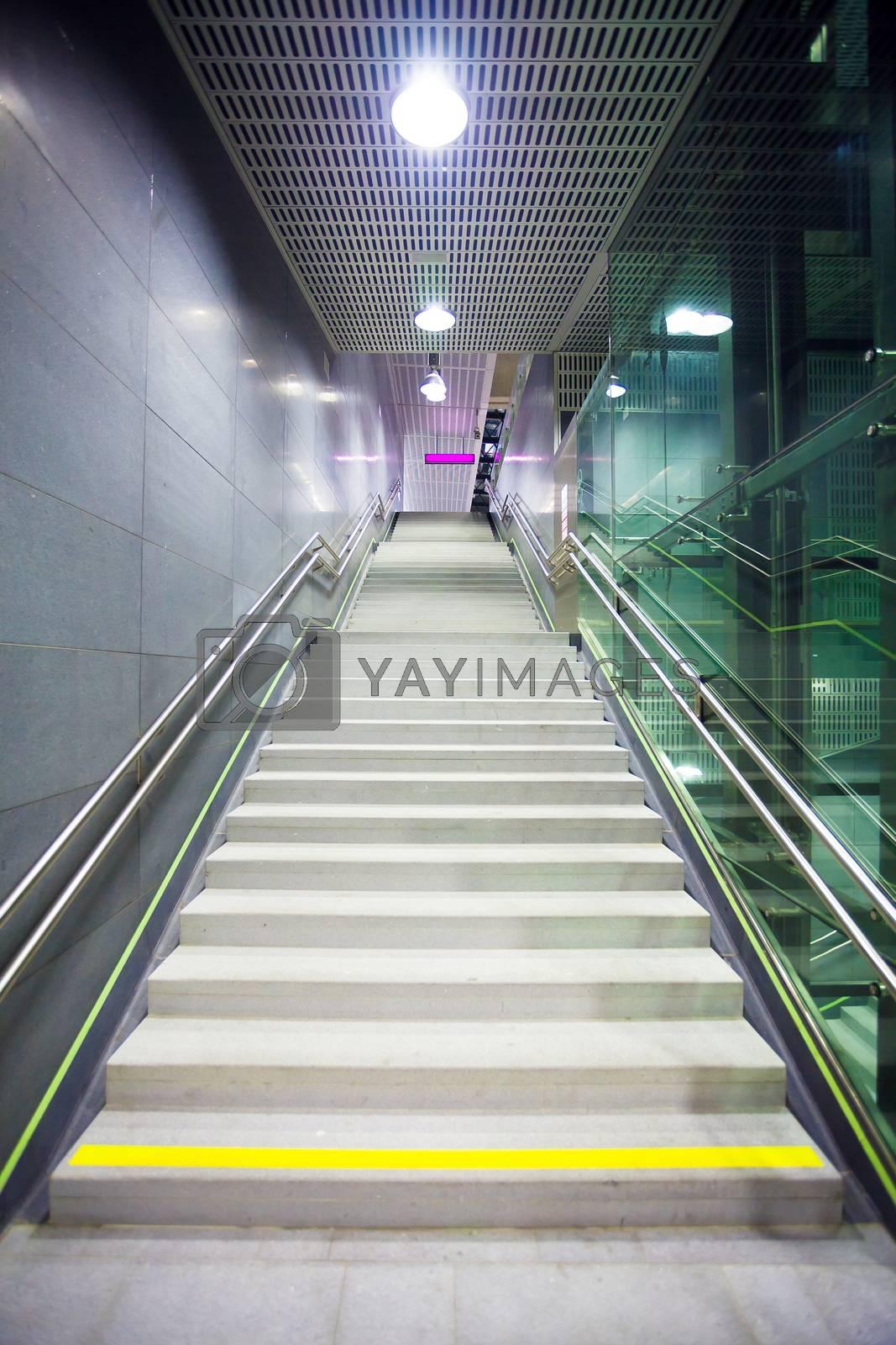 Staircase inside a public metro statio by PixAchi