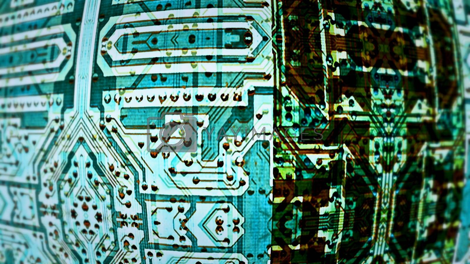 Circuit Boards 0233. Intersecting stylized blue circuit boards.