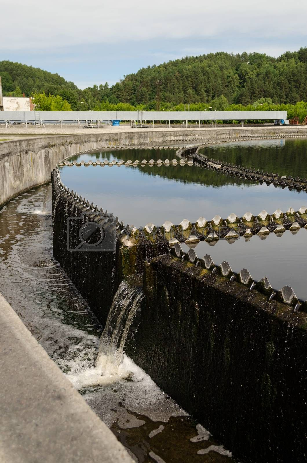 Reservoir of cleaned sewage water clarification step in treatment waterworks. Birds swim.