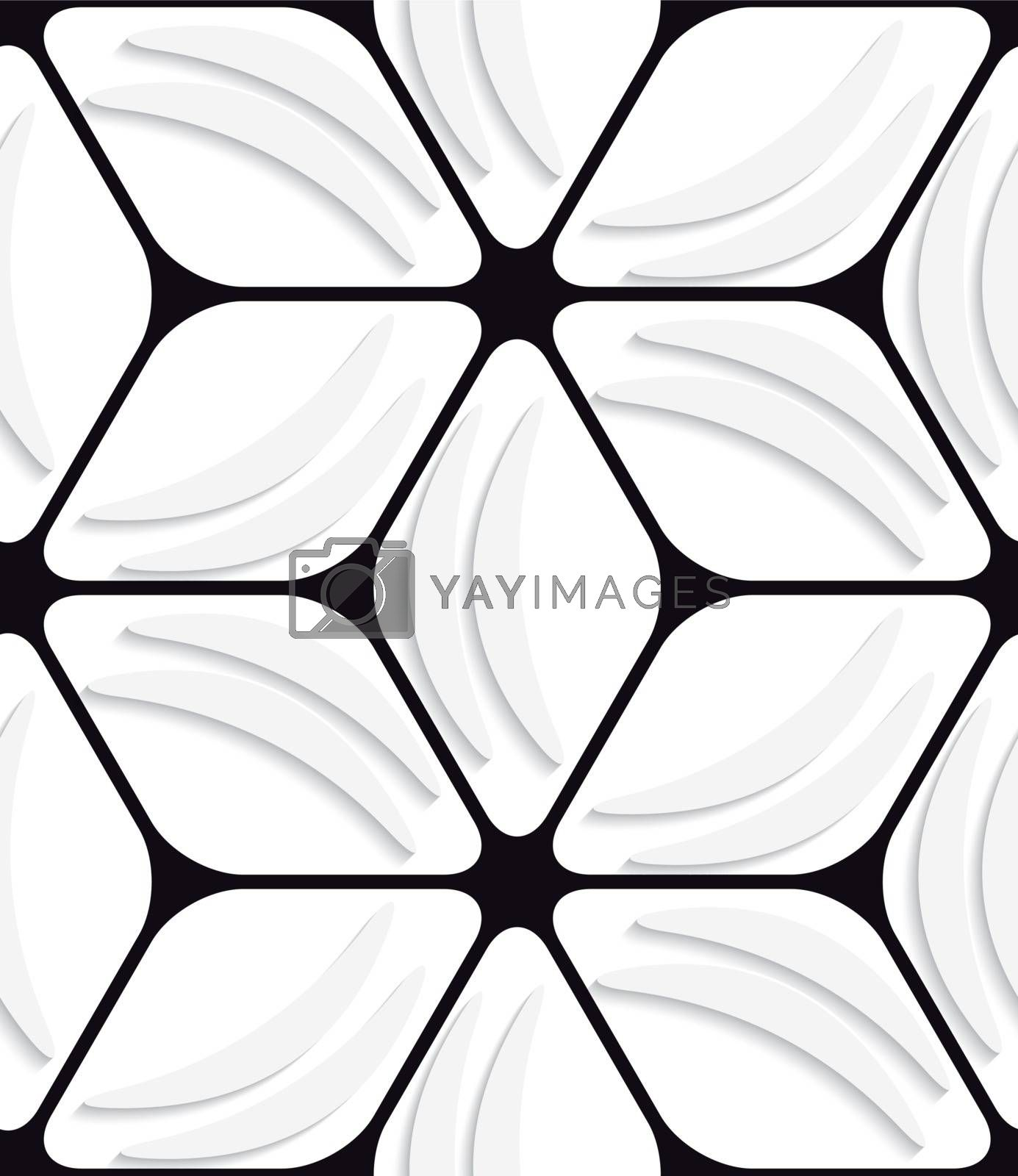 Abstract 3d geometrical seamless background. White banana shapes with cut out of paper effect and black hexagon net.