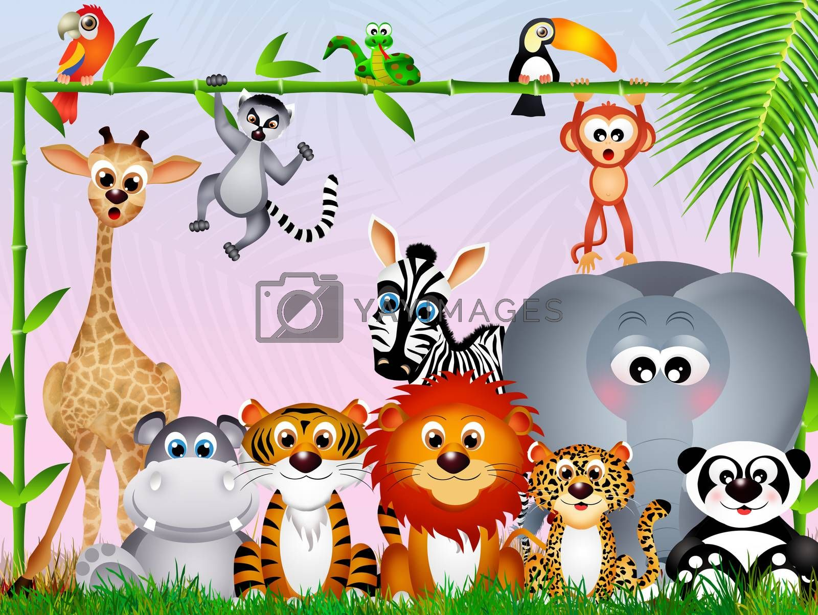 illustration of jungle animals