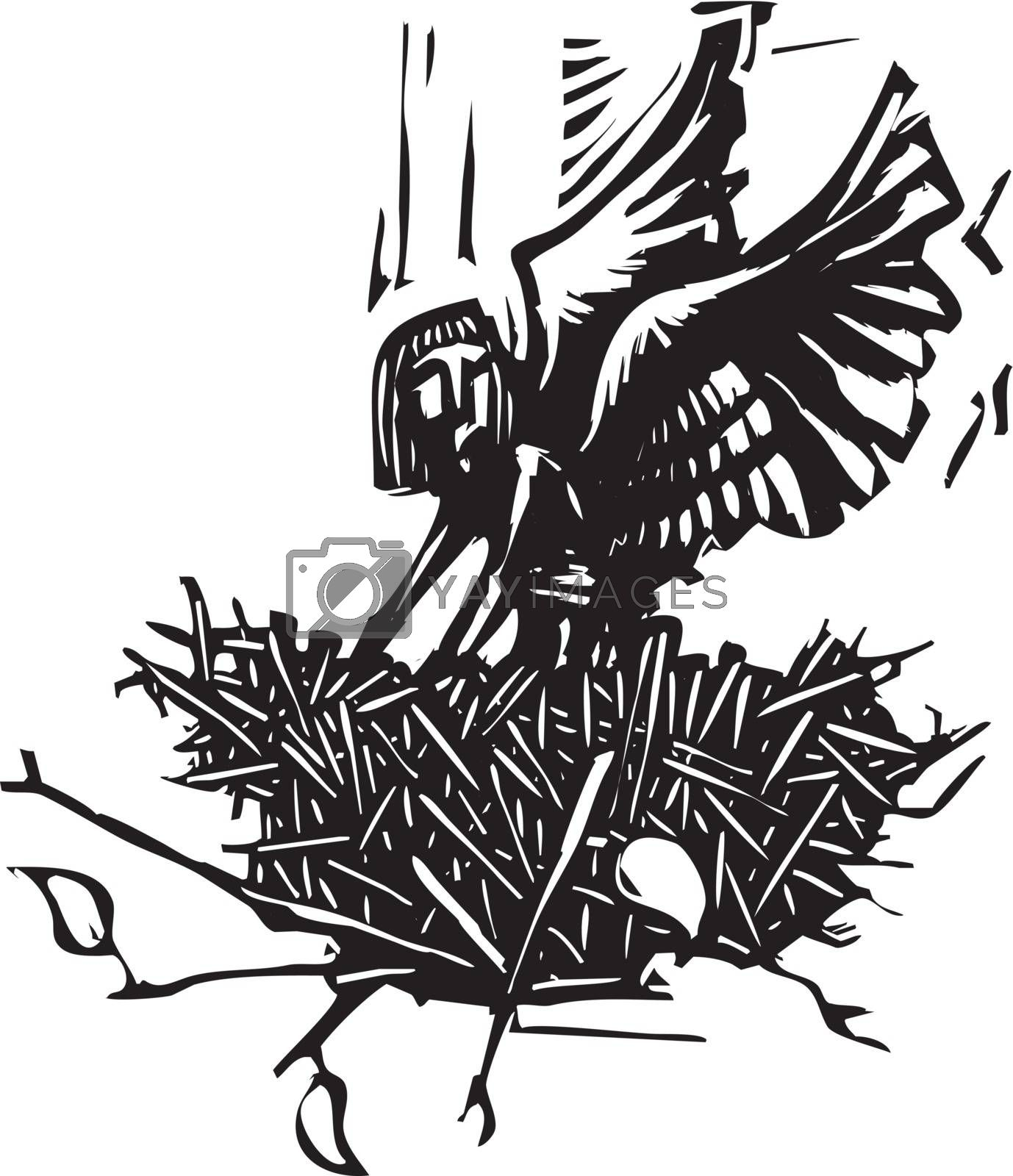 Woodcut style image of an winged angel waking up in a bird's nest.
