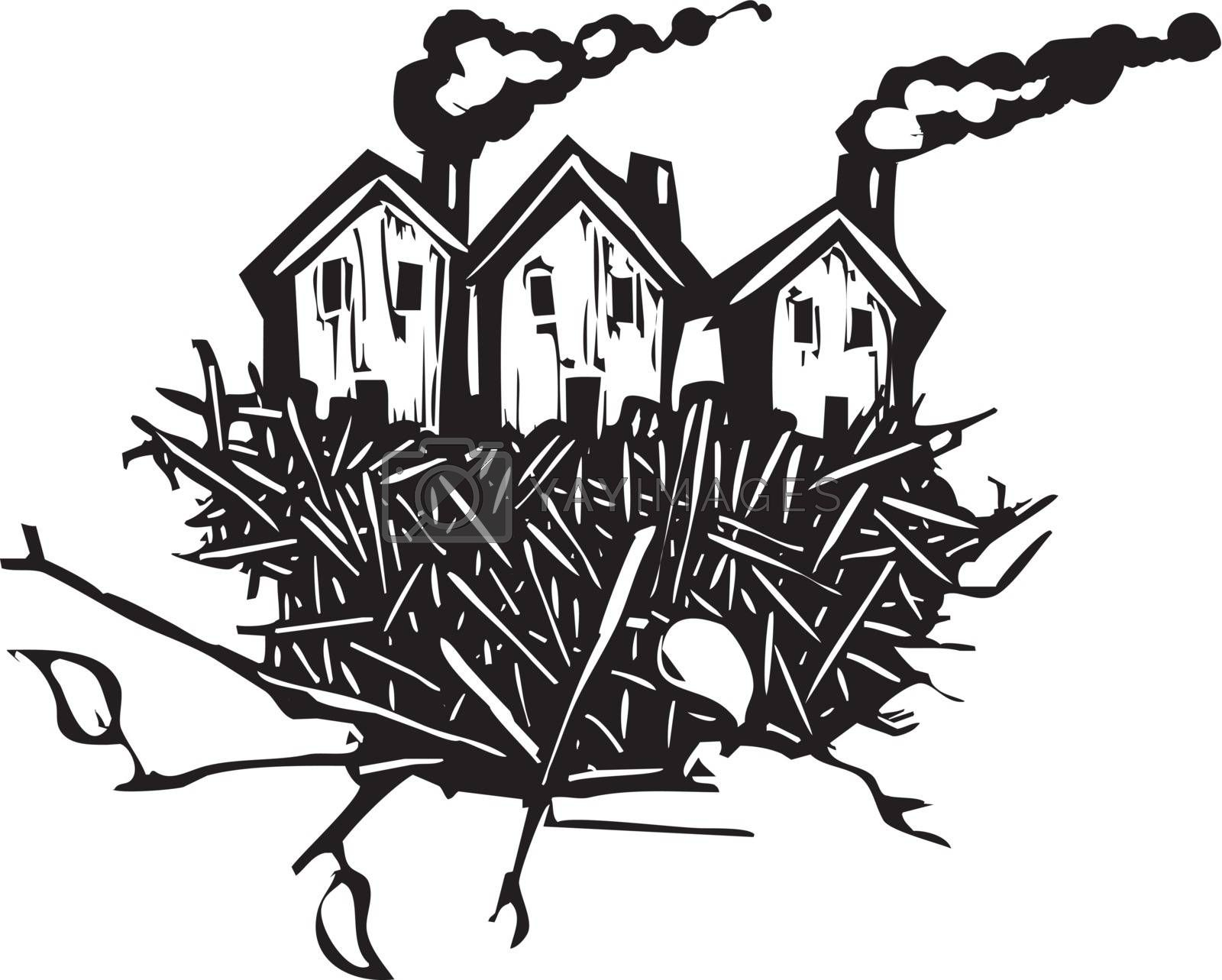 Woodcut style of a number of houses sitting in a birds nest.