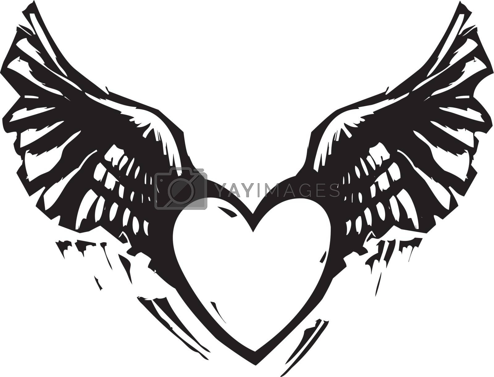 Black and White Woodcut style image of a heart with wings.