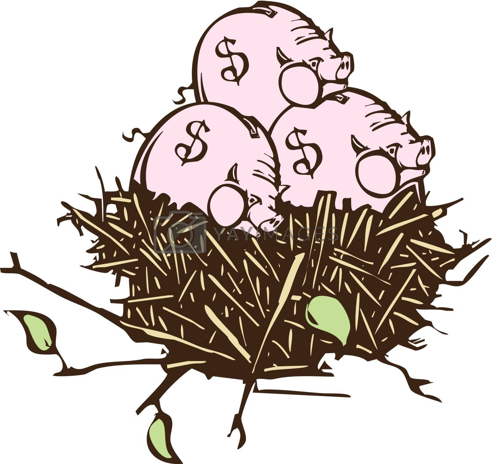 Woodcut style image of a nest with piggy banks instead of eggs.