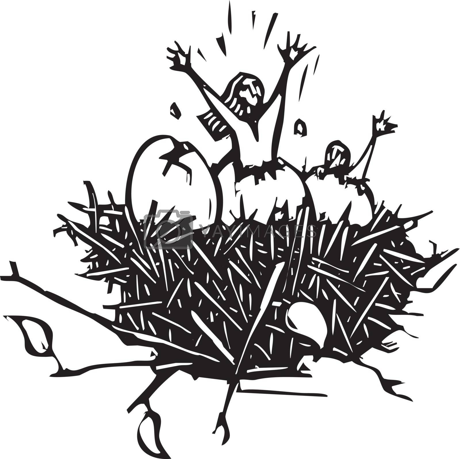 Woodcut style image of a woman breaking out of an eggshell.