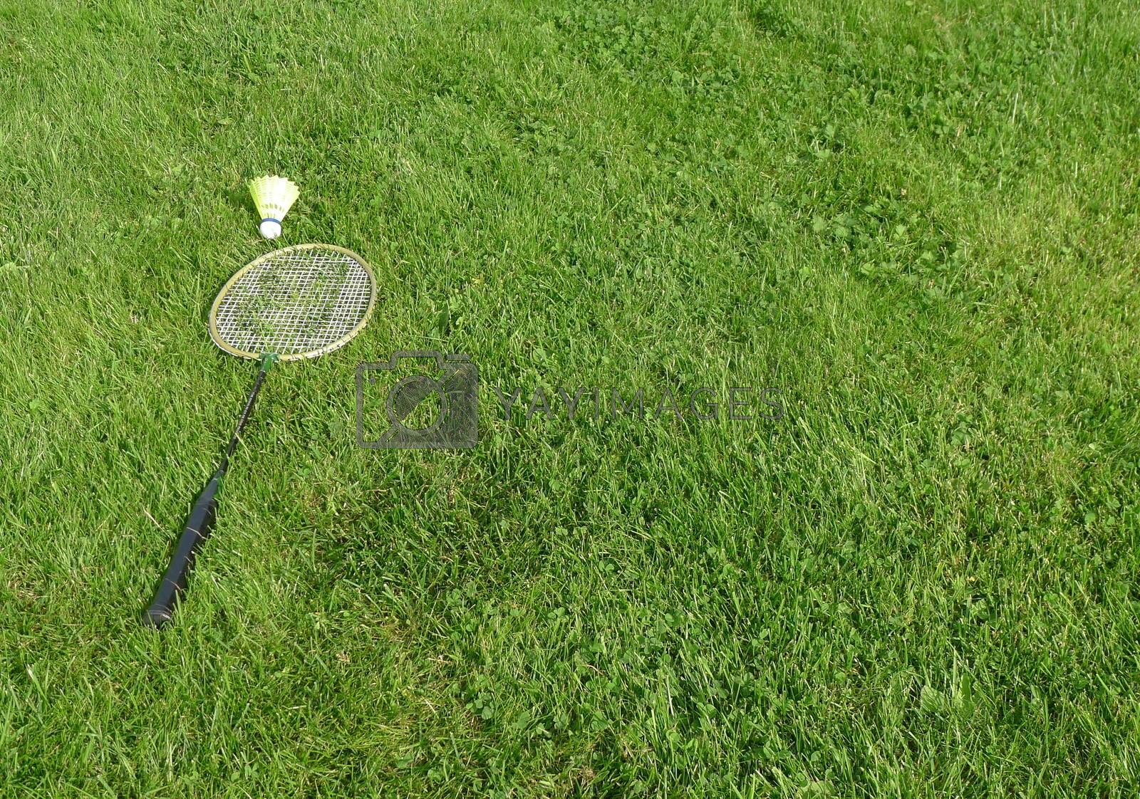Badminton racket on grass
