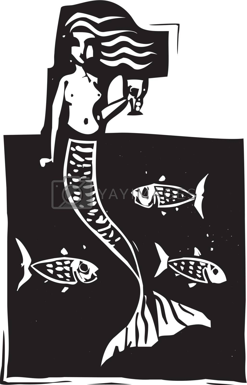 Woodcut style image of a mermaid in the ocean with fish.