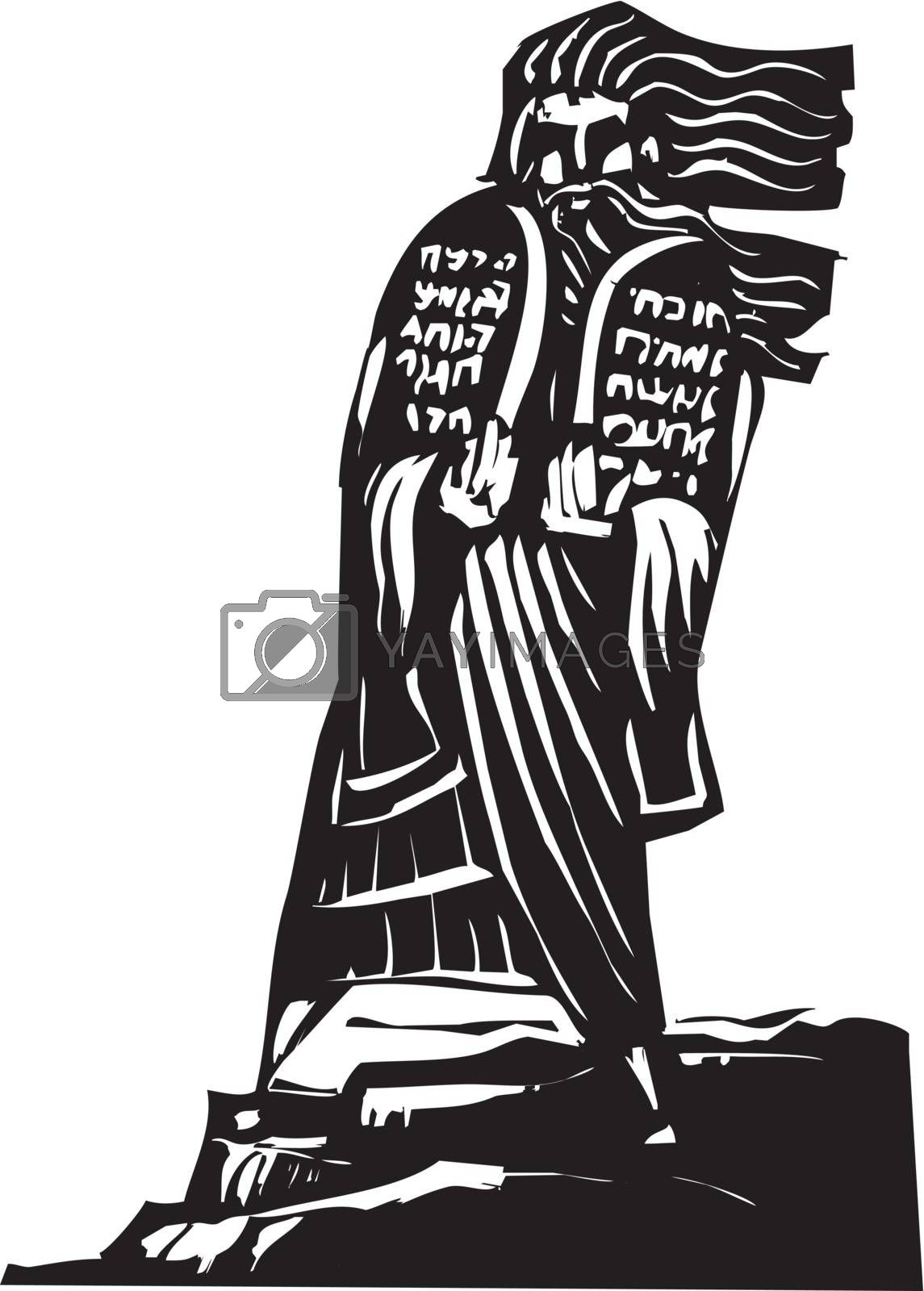 Woodcut style image of the Biblical Moses bringing the ten commandments down from the mountain.