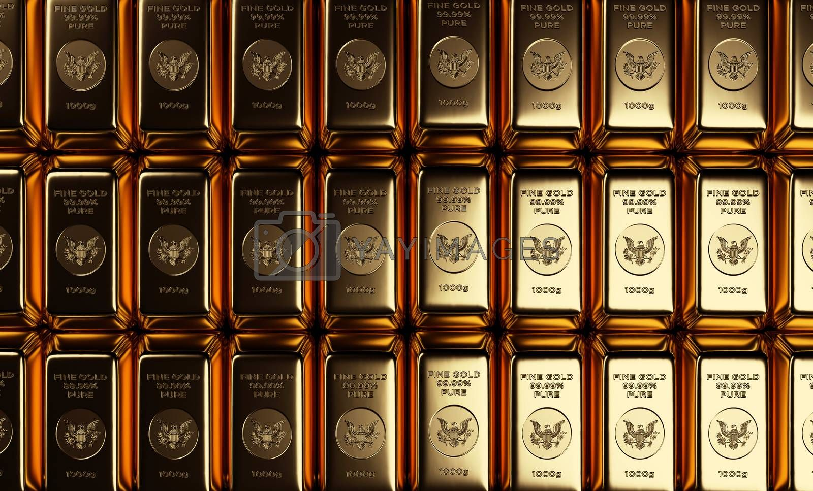 A straight overhead view of gold bars or bullion arranged in a grid of rows and columns