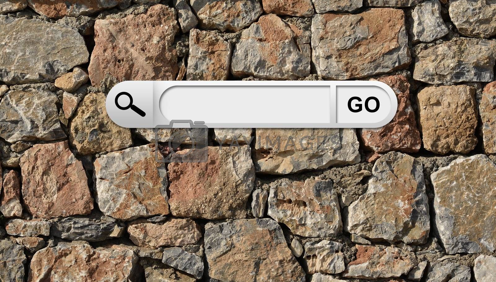 Search bar in browser. Wall of natural bricks on background