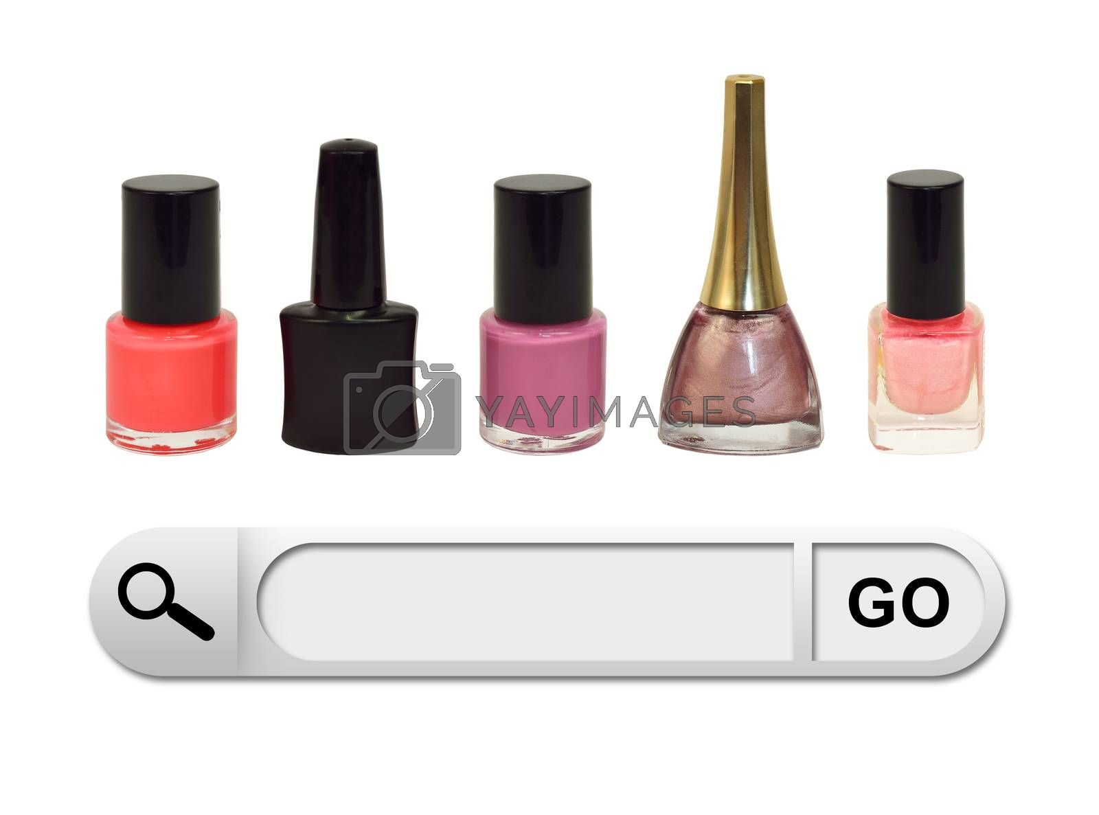Search bar in browser. Colorful bottles nail polish as backdrop