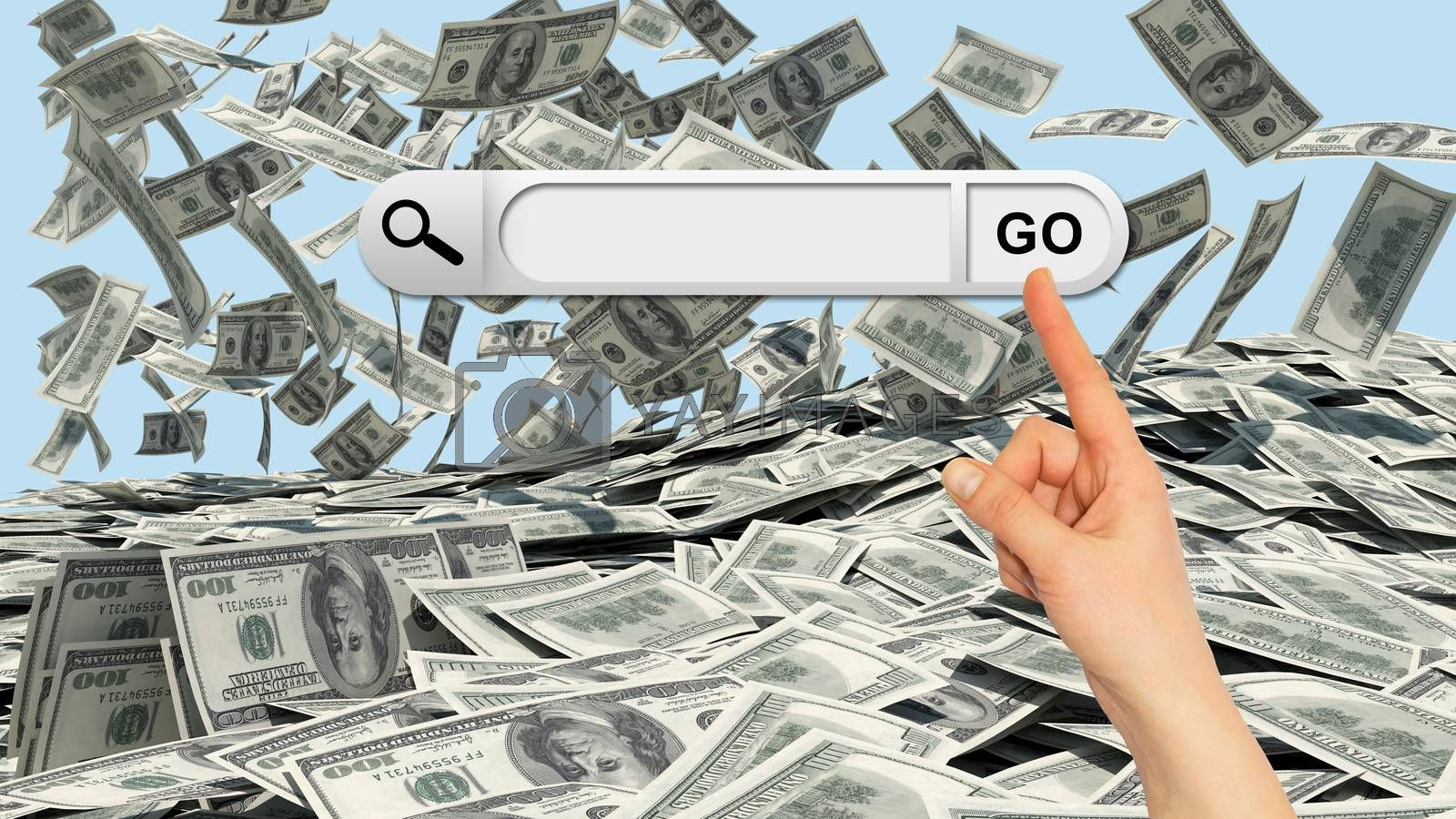 Human hand indicates the search bar in browser. Dollars falling to the stack of dollars as backdrop