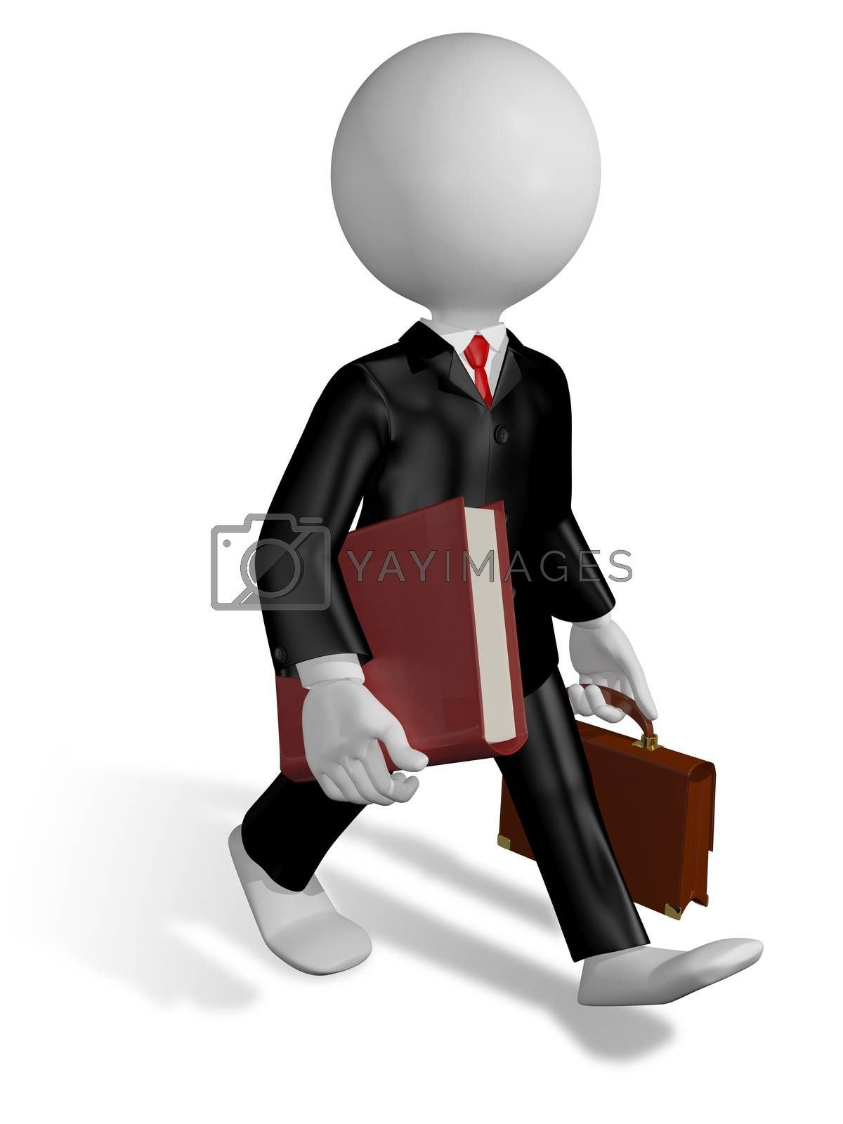 abstract illustration of a running lawyer with a book