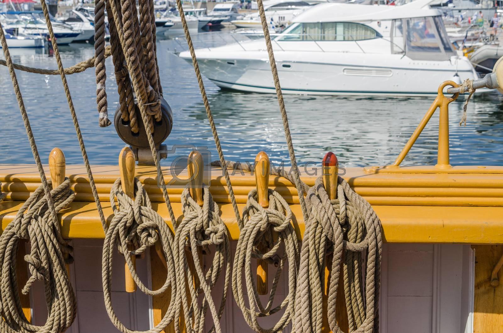 Blocks and tackles of a sailing vessel