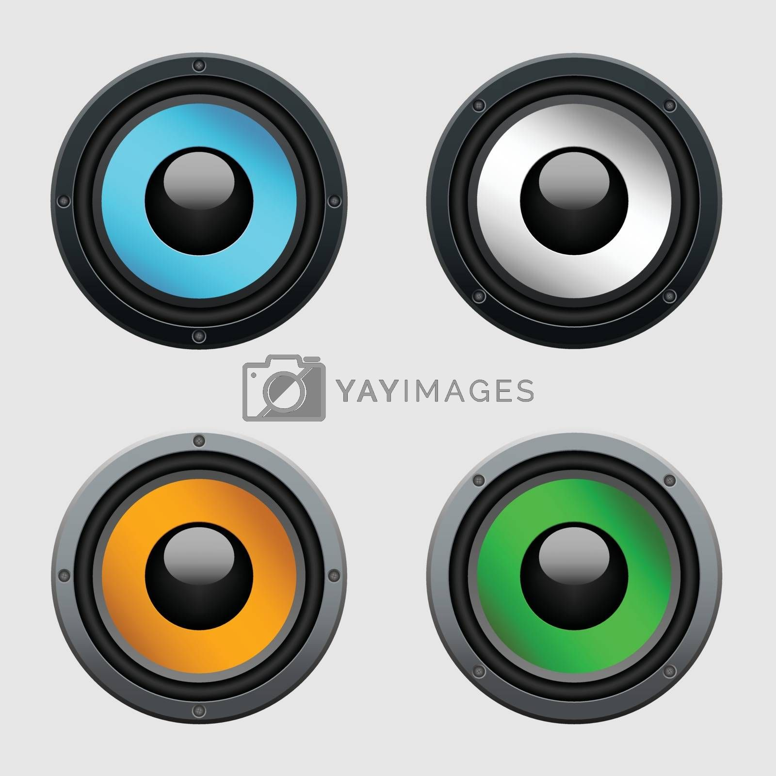 Set of four colorful metallic speakers - realistic illustration