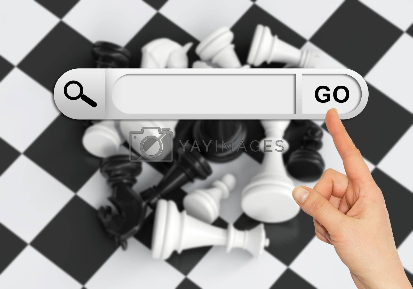Human hand indicates the search bar in browser. Chess pieces and chessboard on background