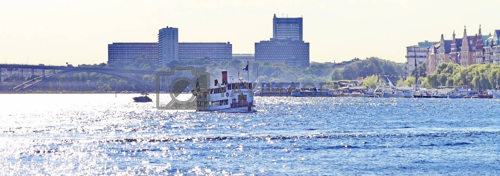 Royalty free image of boat,walk in Stockholm by victorych