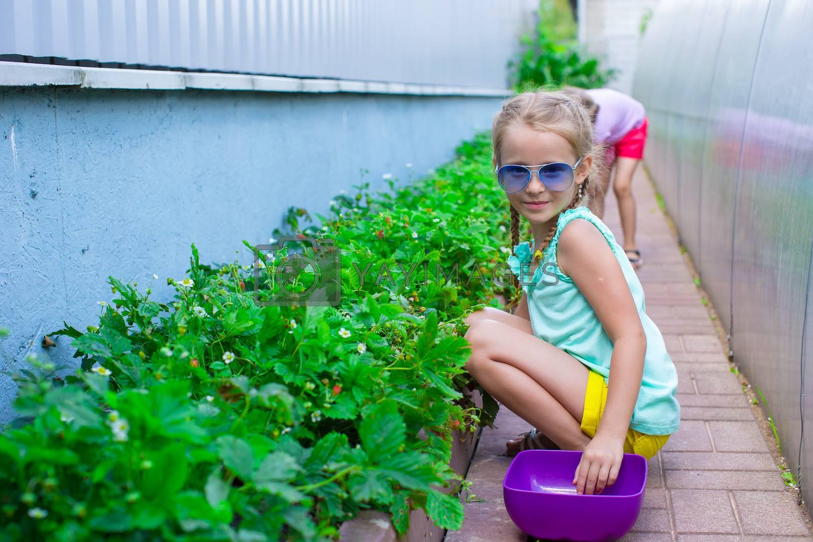Portrait of cute little girl sitting in garden