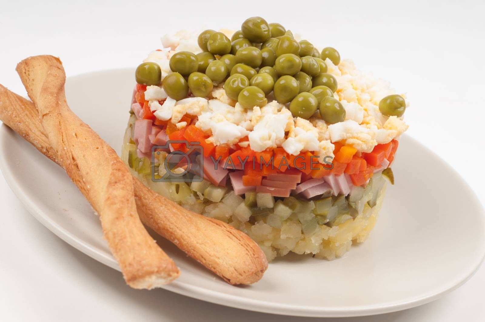 Potato Olivier, russian salad ingredients on the plate
