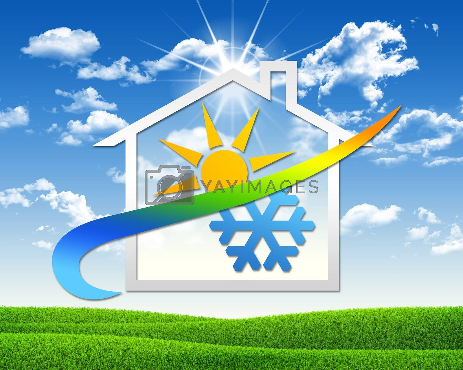 House icon with weather symbol. Green grass and blue sky as backdrop
