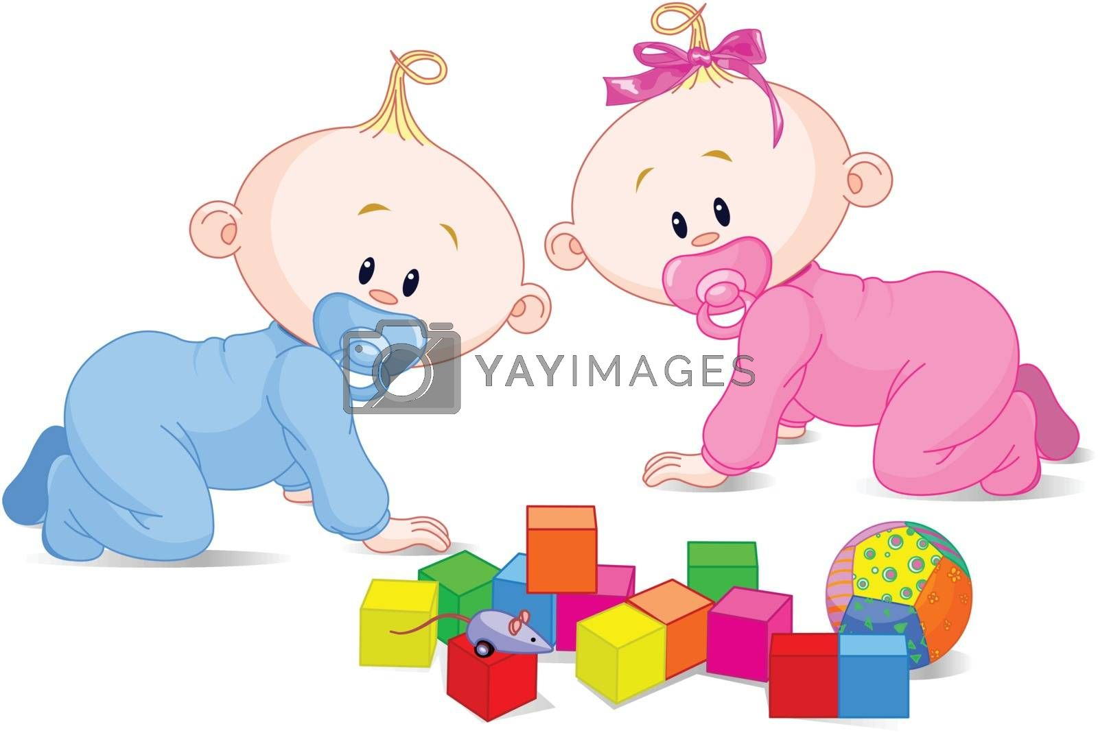 Two cute playing babies with cubes