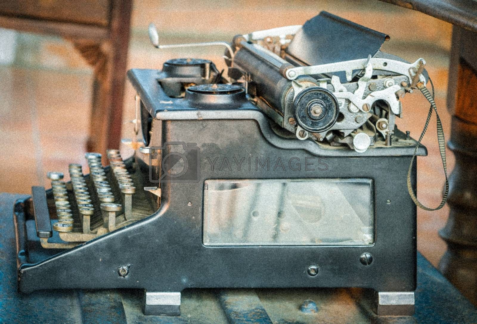 Old typewriter with vintage tone -adding grain and noise