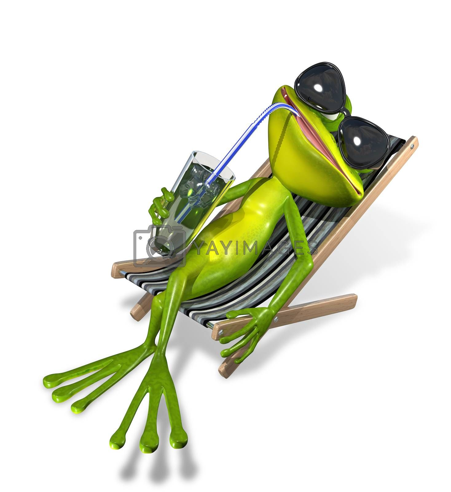 green frog with a drink on a sun lounger