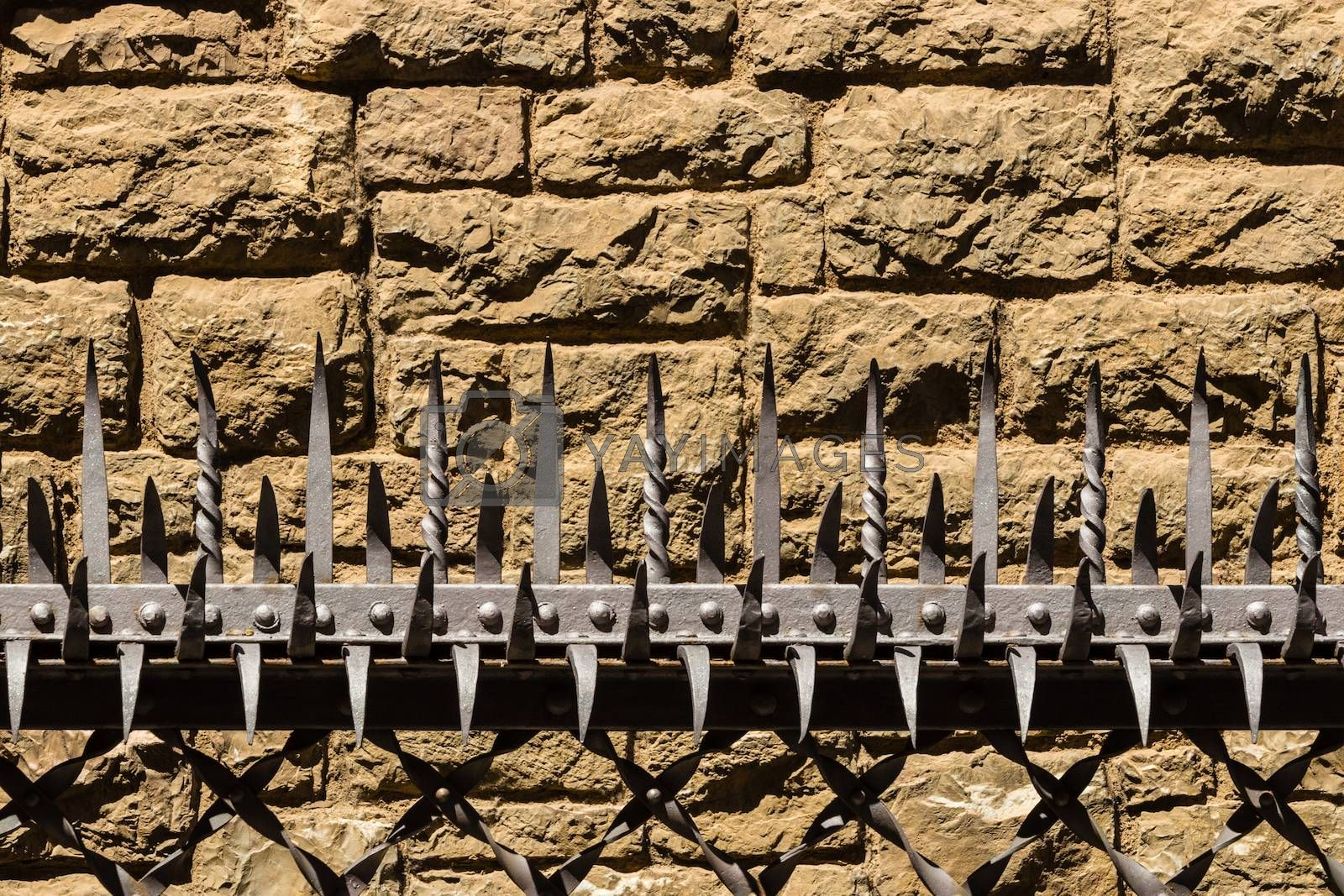 Closeup pic of metal thorns in a protective security barrier in the city center of Leon , Spain