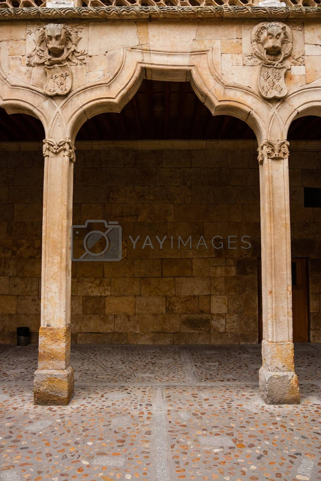 Detail capture showing the complex odd shape archery of the cloister in the Patio de Escuelas Menores in old Salamanca University buildings, Spain