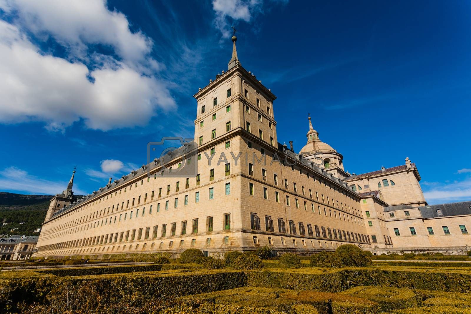 Panoramic full view  in the Royal Site of San Lorenzo de El Escorial next to Madrid Spain