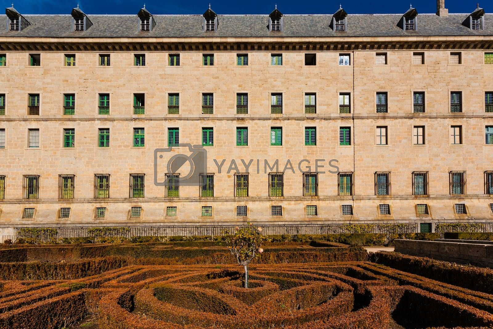 Lateral and gardens view of  the Royal Site of San Lorenzo de El Escorial next to Madrid Spain