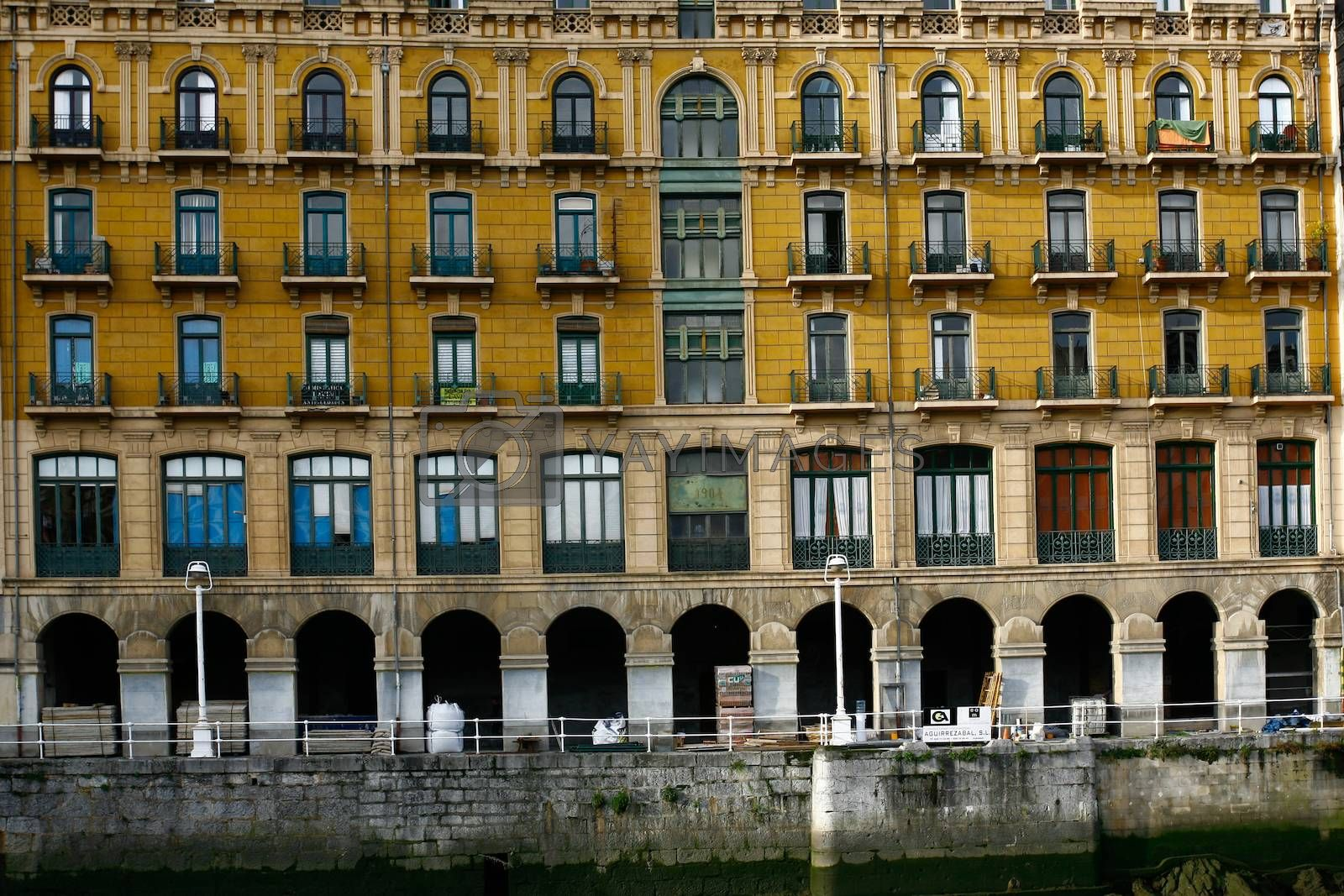 Cityscape of beautiful modernist building in Bilbao Bailen Street next to the Nervion river Basque Country Spain