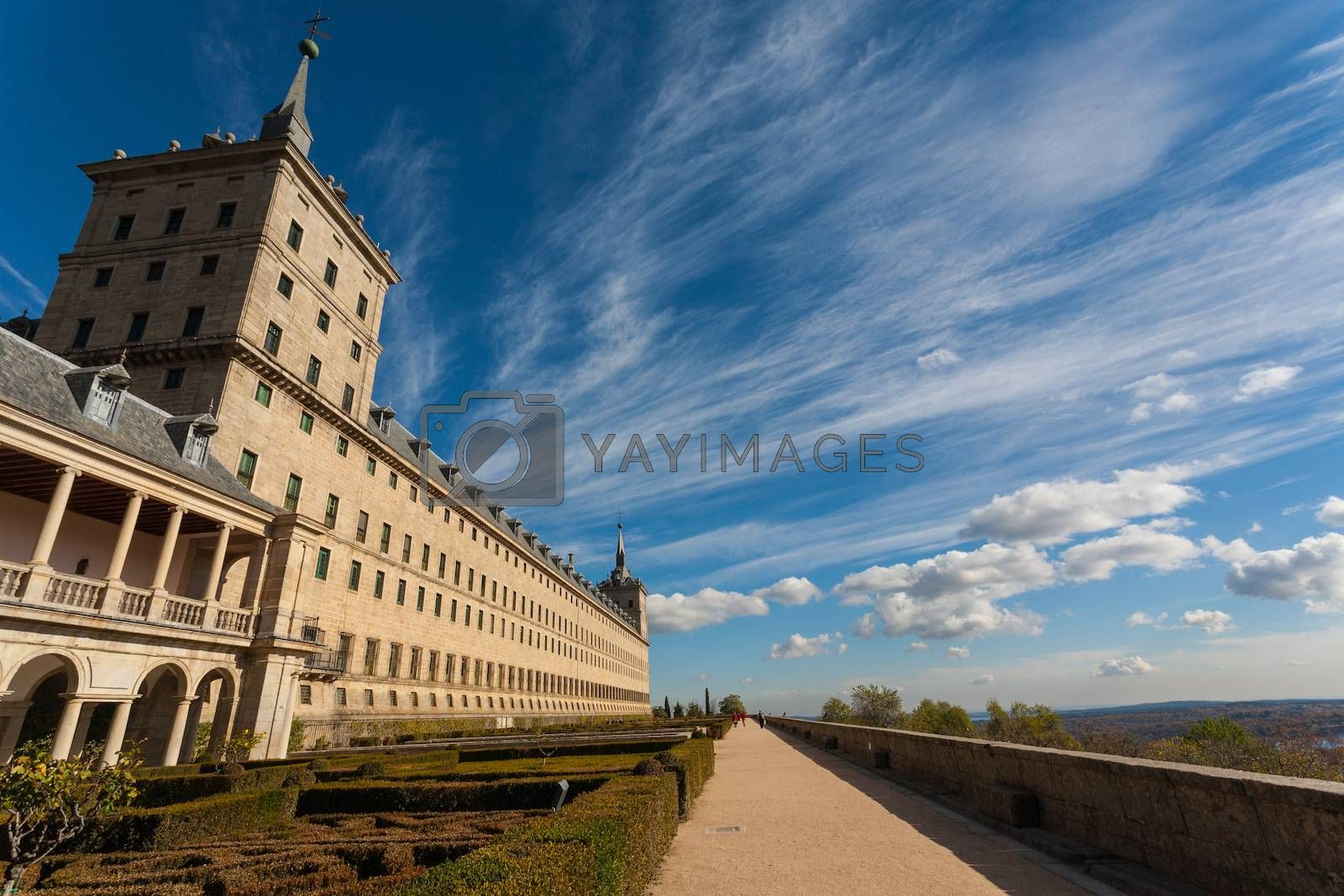 View of the Escorial Royal Monastery from its gardens Madrid Spain