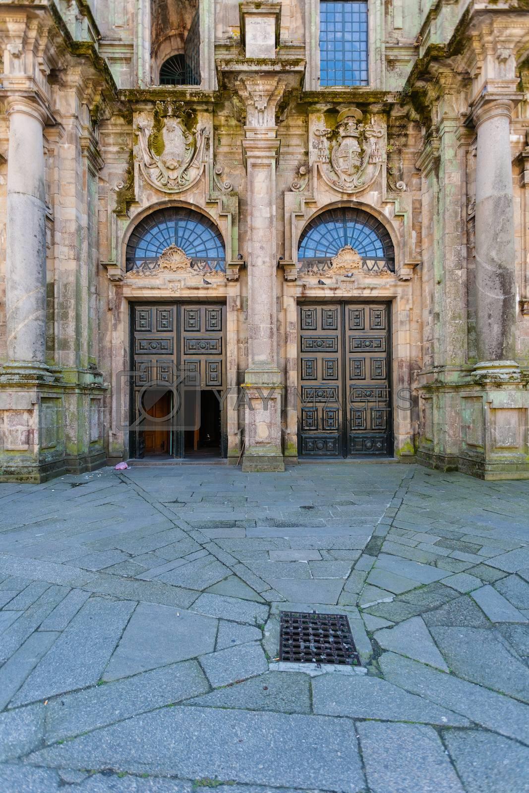 Santiago de Compostela Cathedral North double door entrance  by imagsan