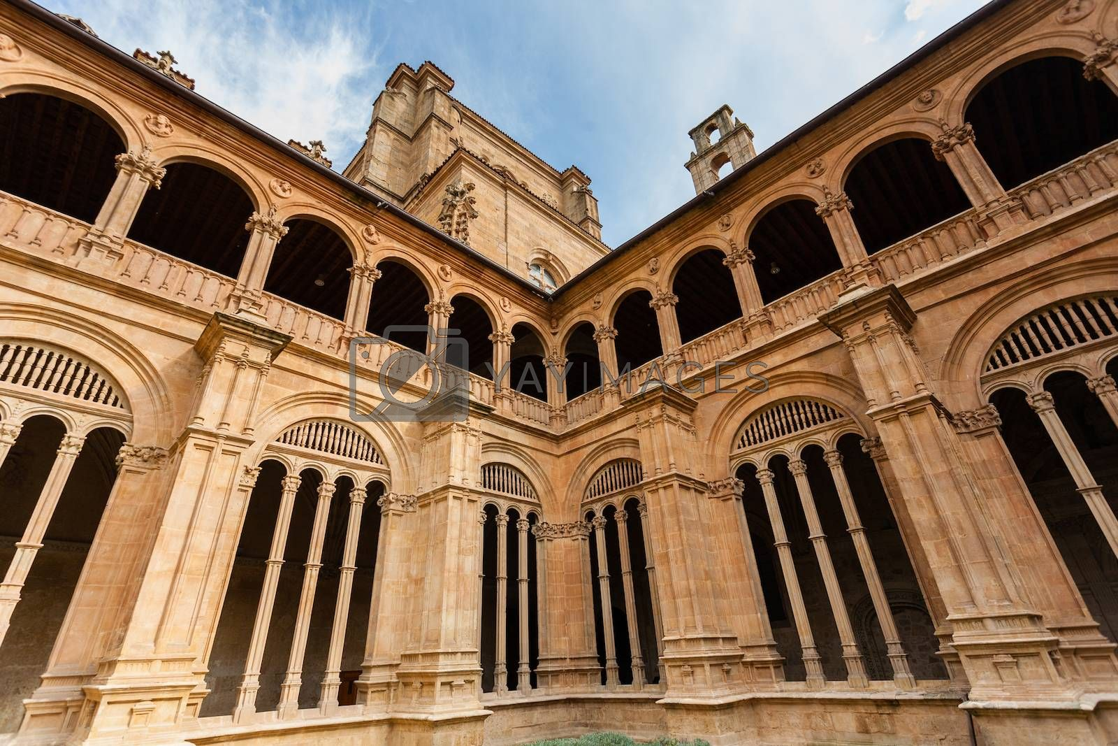 Detail view of lower and upper archery of the cloister from San Esteban dominican convent in Salamanca Spain