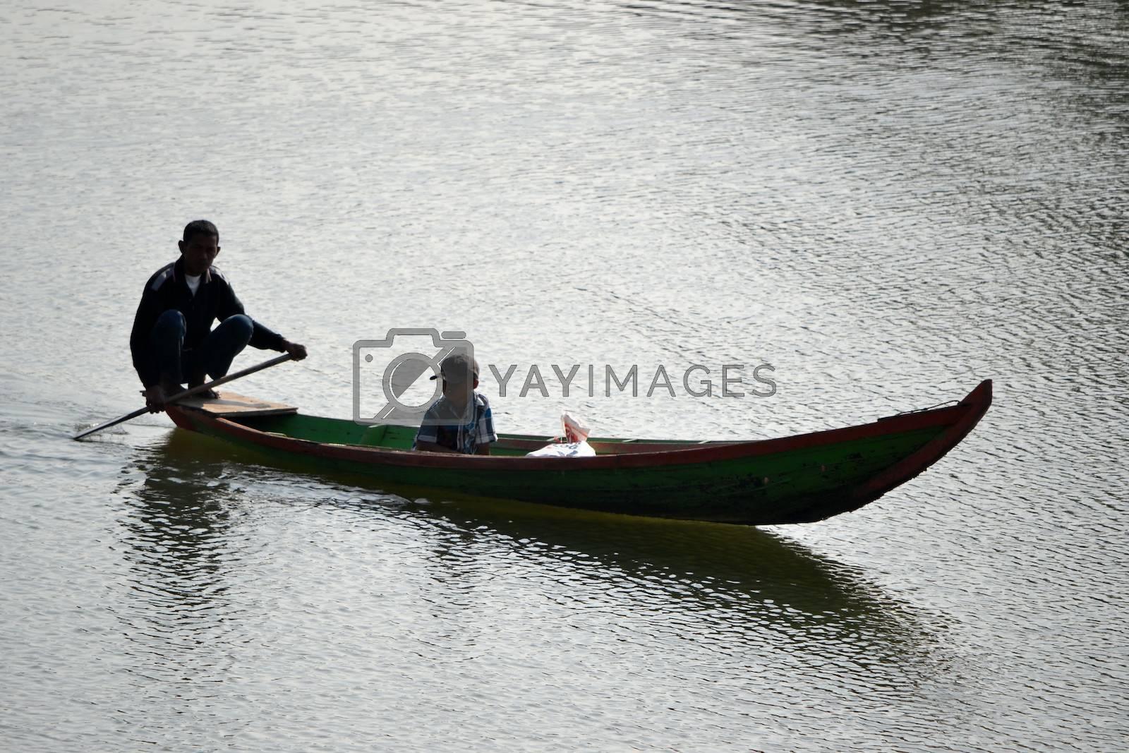 Padalarang, Indonesia - August 1, 2014: Boat that people used for fishing at Saguling lake Padalarang, West Java-Indonesia.