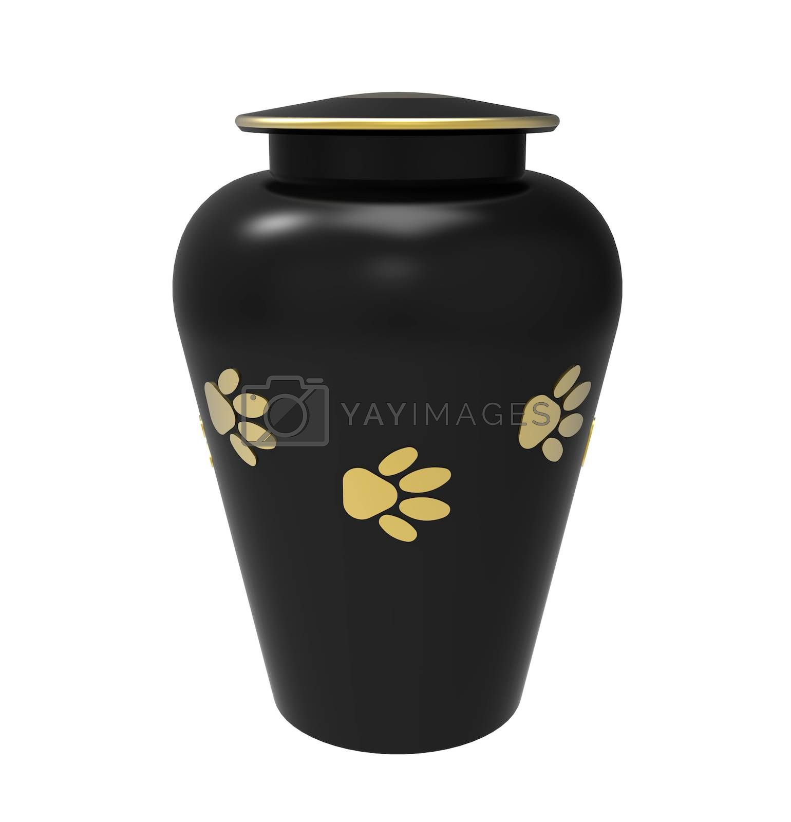Black Cremation urn for pets, 3d render, isolated on white