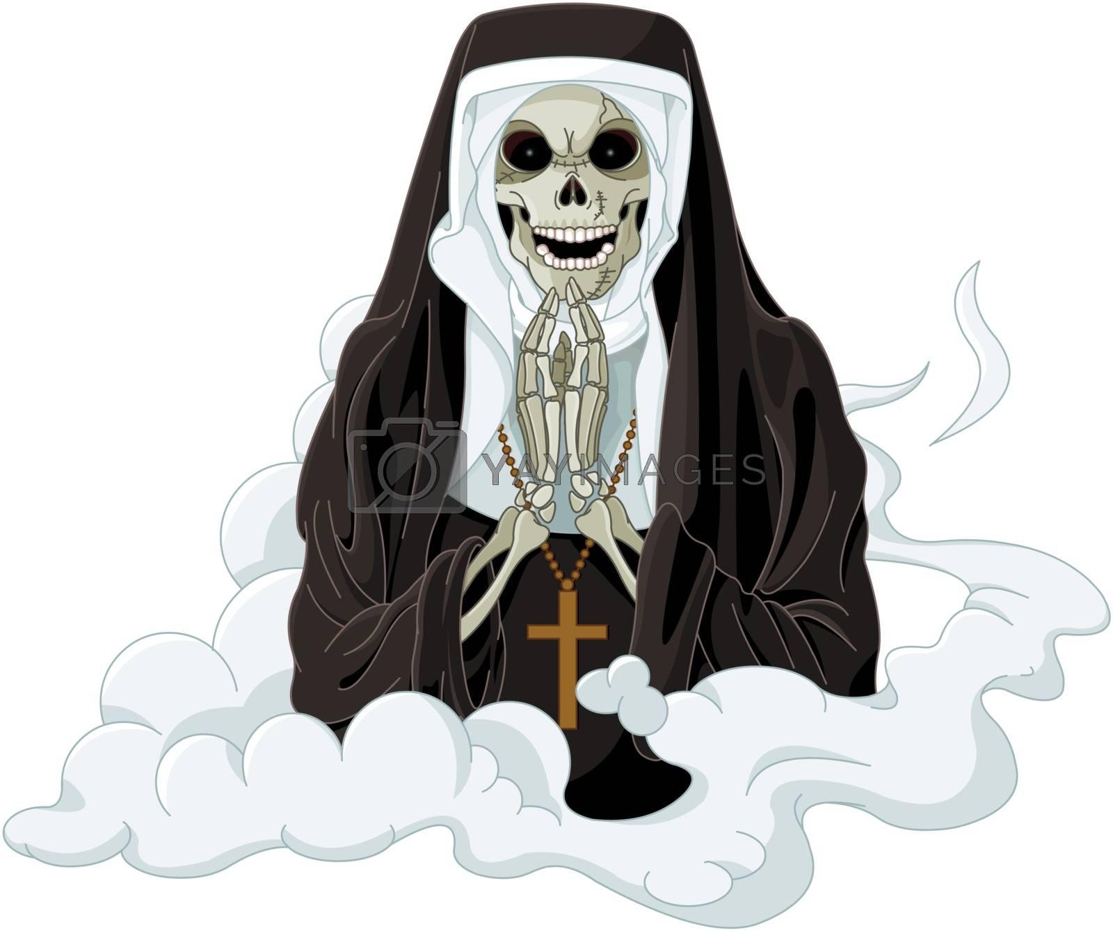 Illustration of Halloween horror nun