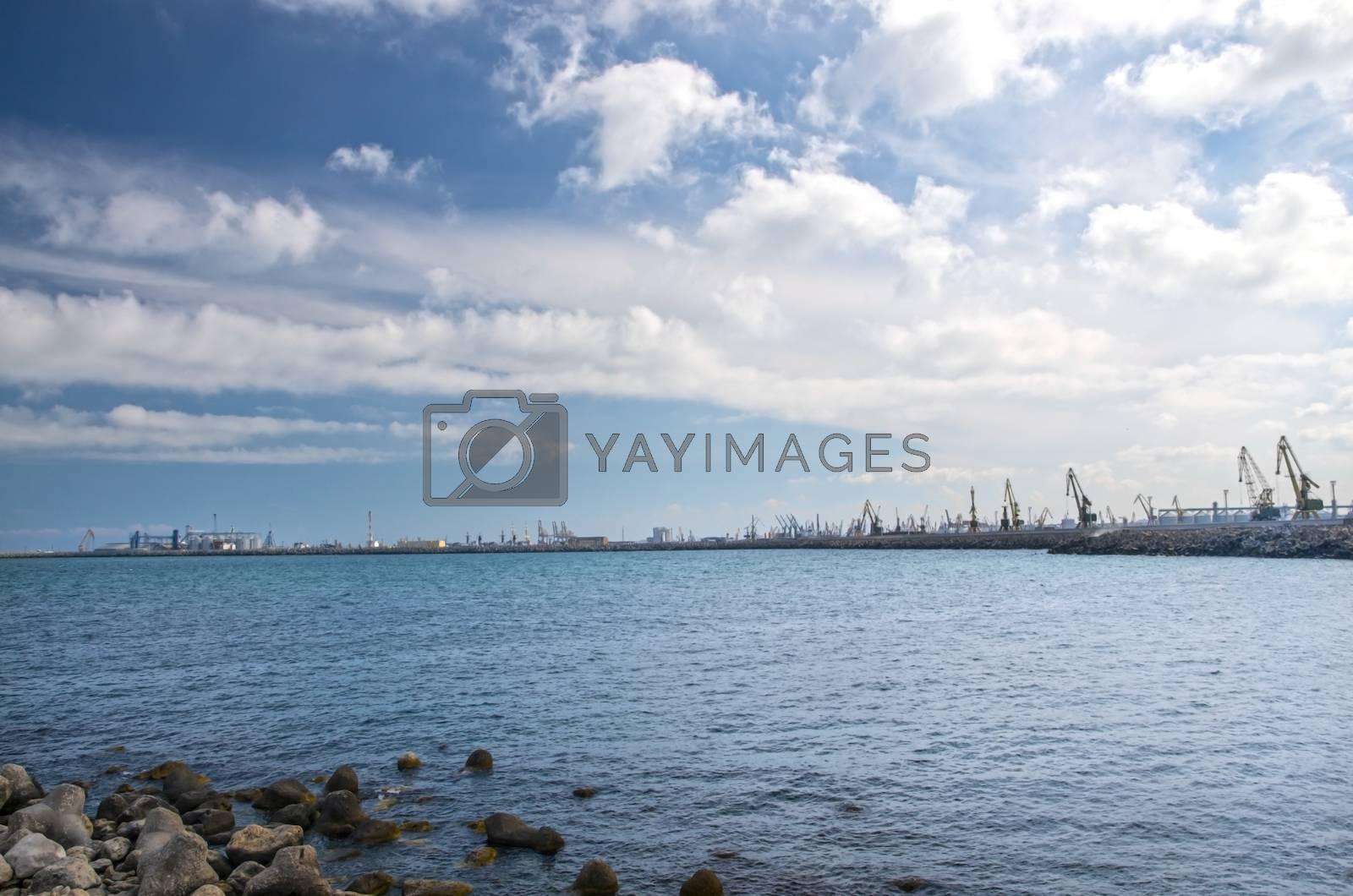 Shipyard In Constanta with big cranes at the horrizon.