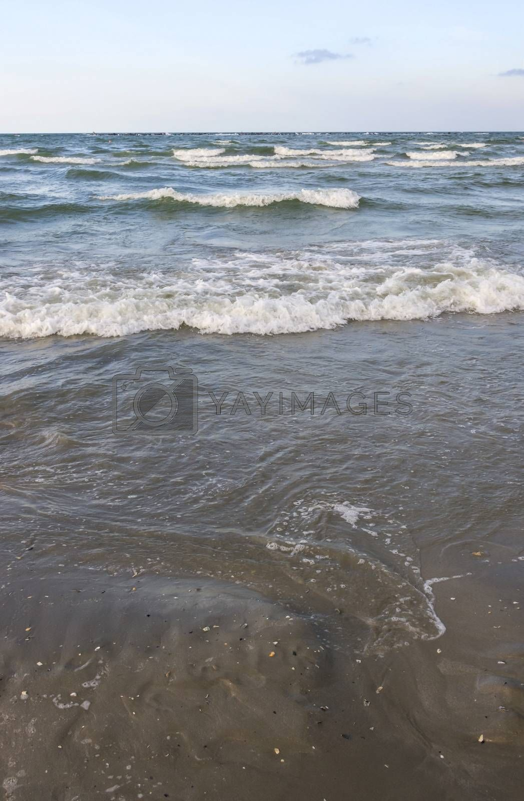 Sea waves splashing on a sandy beach.