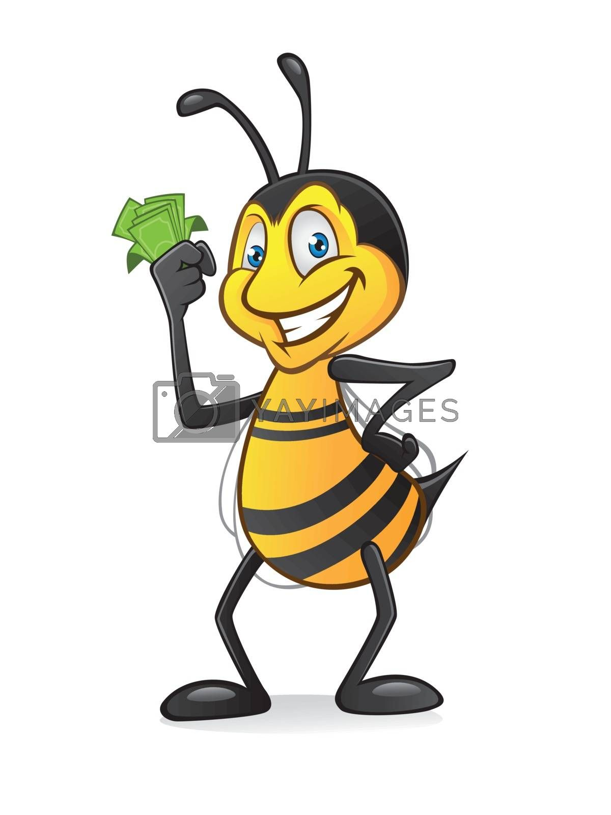 Cartoon bee holding a bundle of money with a smile and hands on hips
