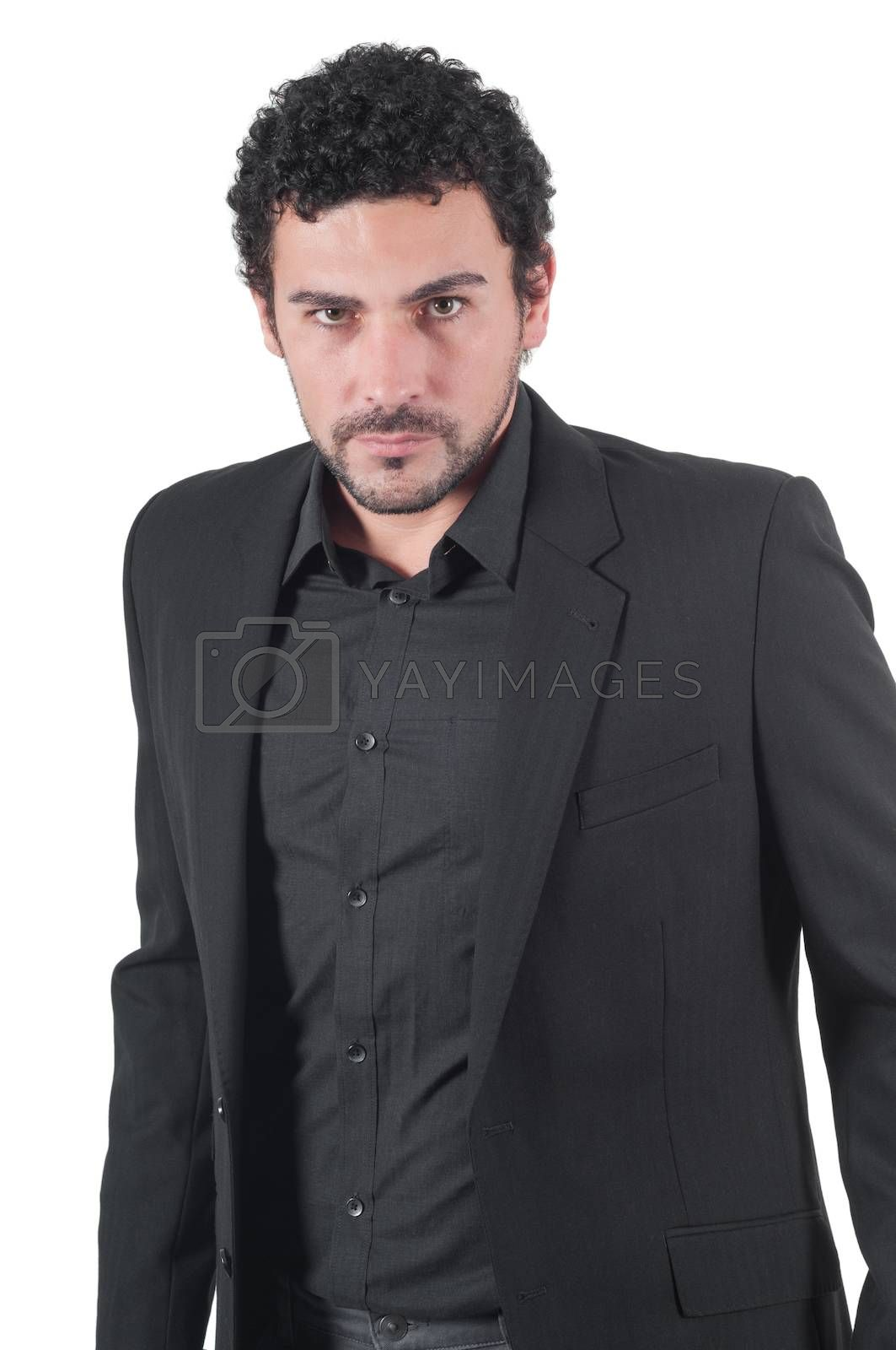 Young cute guy in black isolated on white background